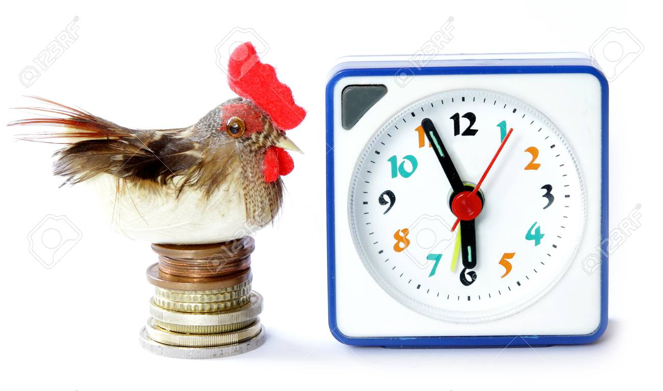 Early bird catches gets the worm proverb representing alarm clock on 6 am with bird and money - 47256924