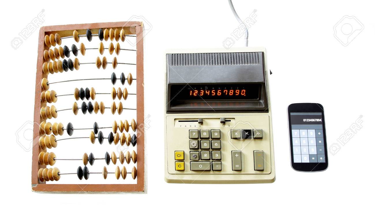 Evolution Of Calculation Abacus Vintage Calculator And Modern