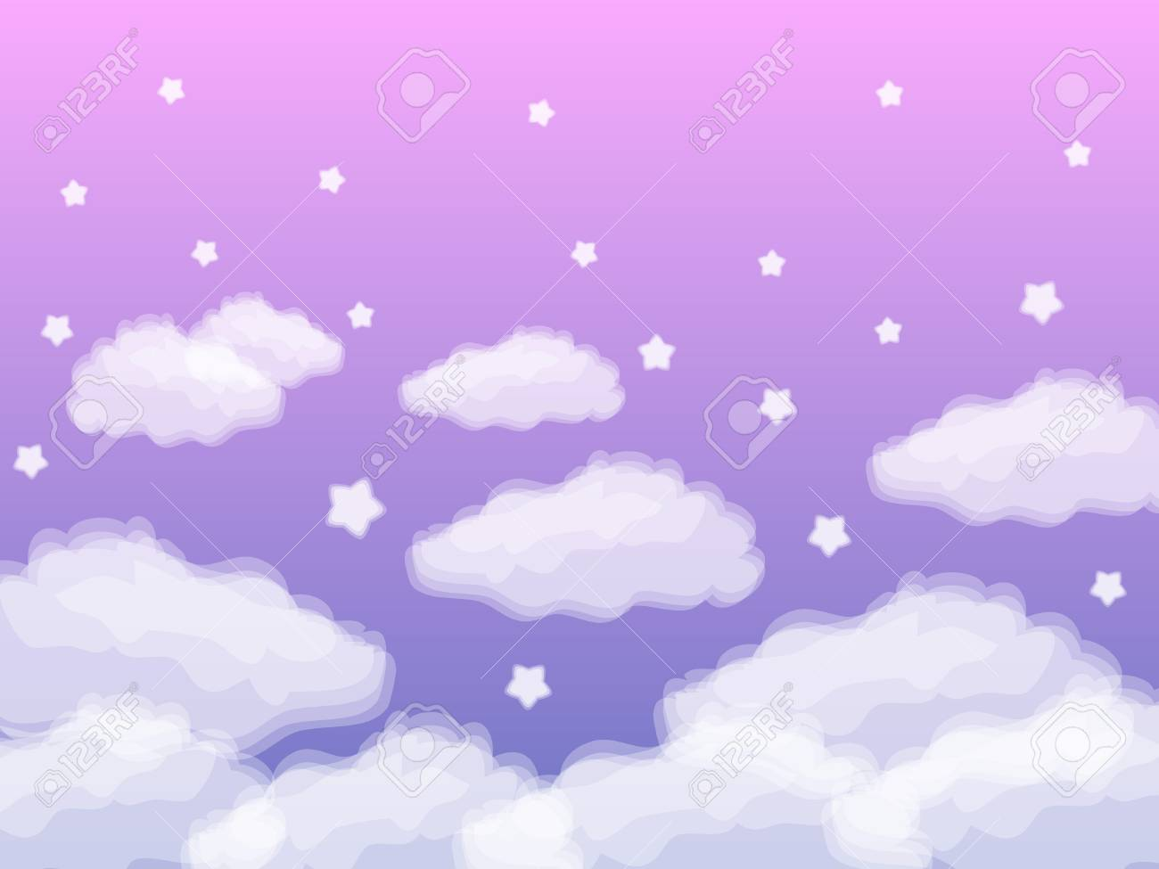 White Star And Cloud Background On Purple Background Royalty Free Cliparts Vectors And Stock Illustration Image 80875733