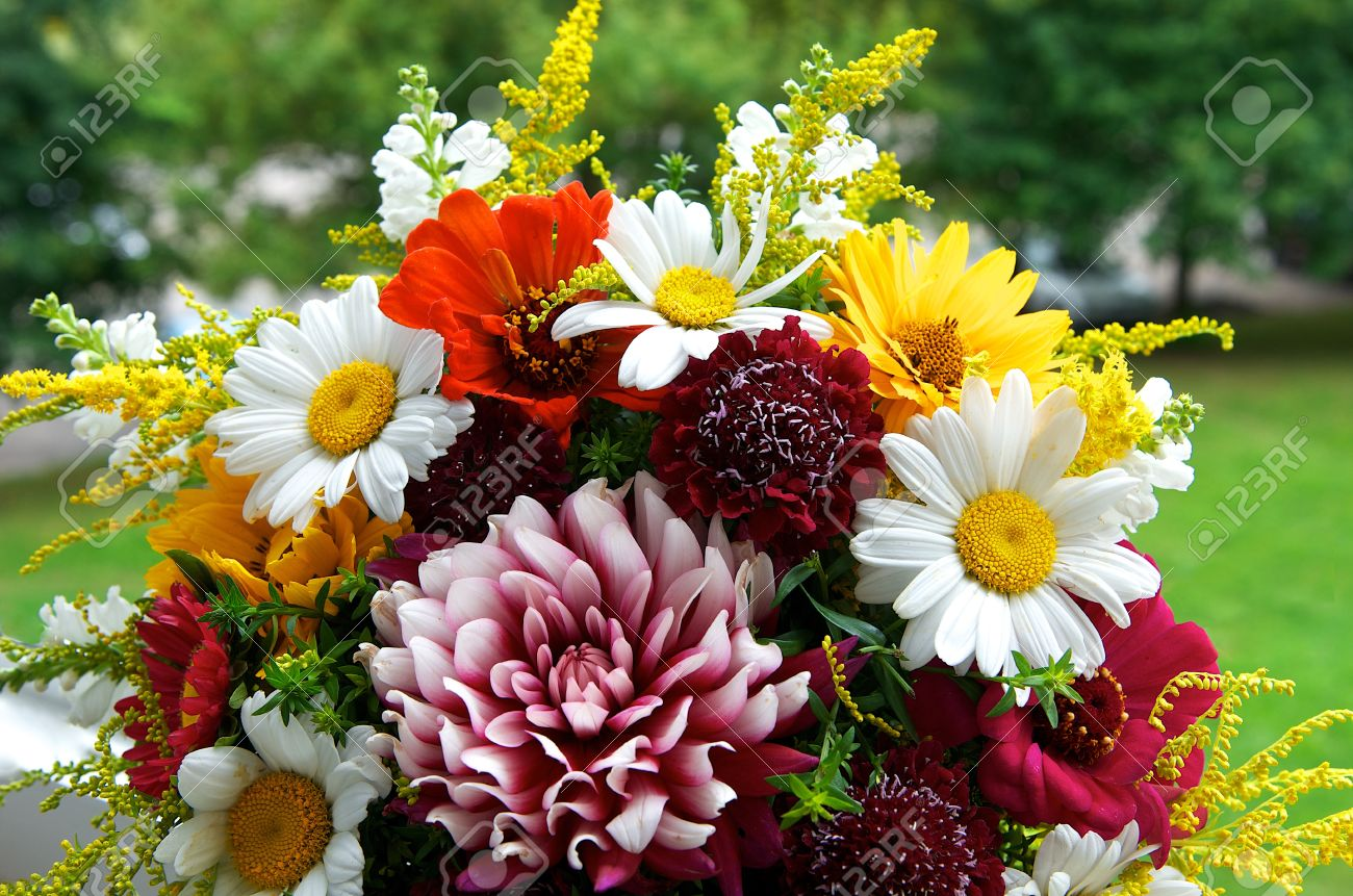 Big Colorful Flower Bouquet From Different Flowers With Green