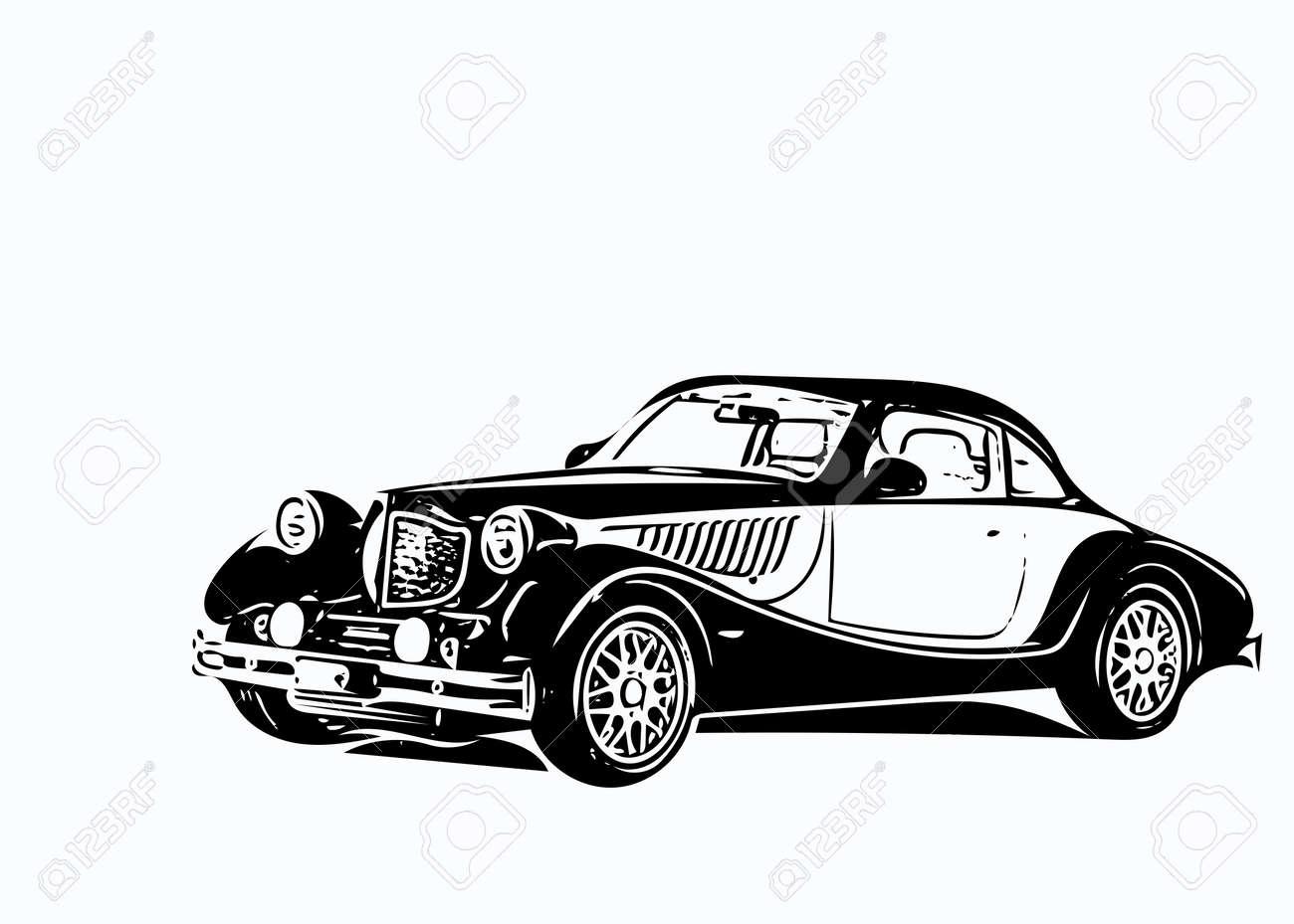 Old car bodysuit black and white illustration. - 167571522