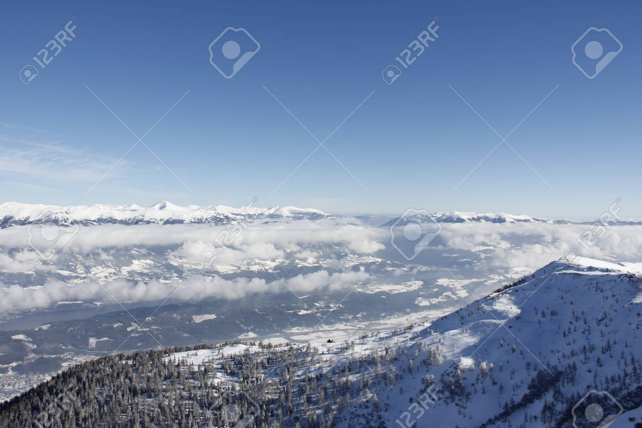 View From Top Of Gold Corner 2142m Spittal Carinthia Austria Down Into The Valley In Winter Stock Photo - 36486083