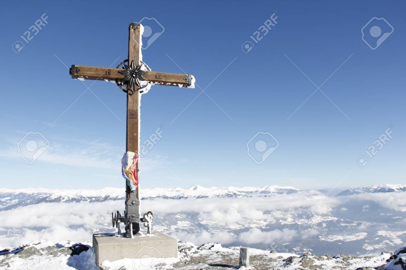 Summit Cross On Top Of Gold Corner 2.142m Spittal Carinthia Austria In Winter Stock Photo - 36486090