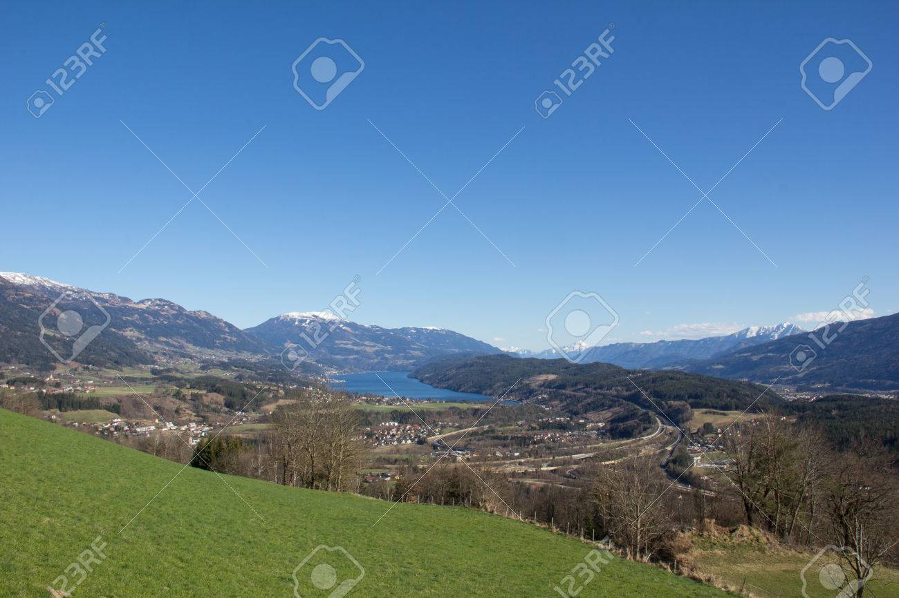Chicken Mountain View To Lake Millstatt In Spring Stock Photo - 38937364