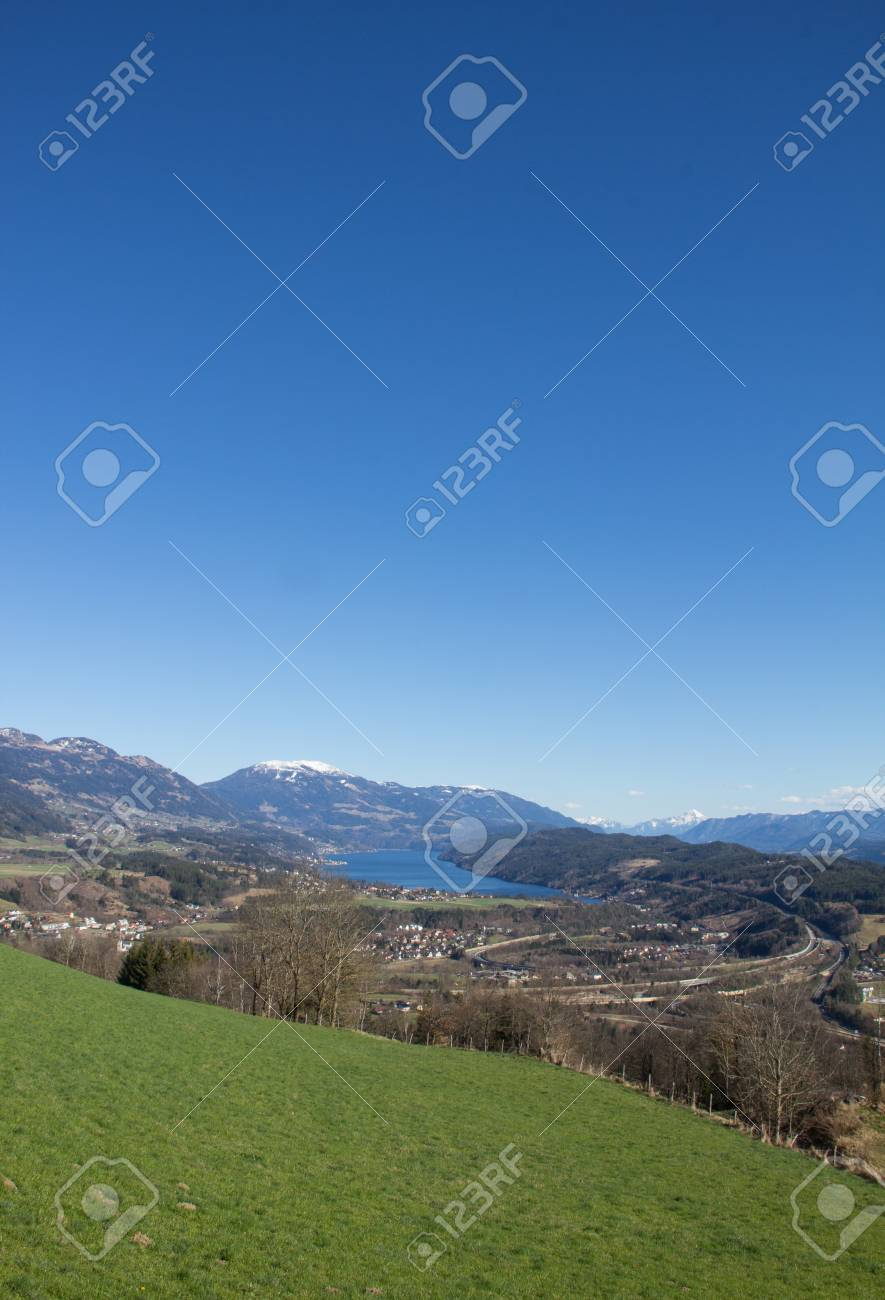 Chicken Mountain View To Lake Millstatt In Spring Stock Photo - 38937365