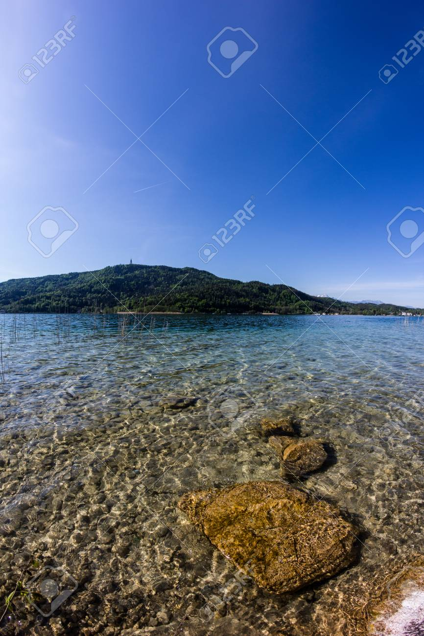 Lake Woerth View From Beach Poertschach Stock Photo - 40548524