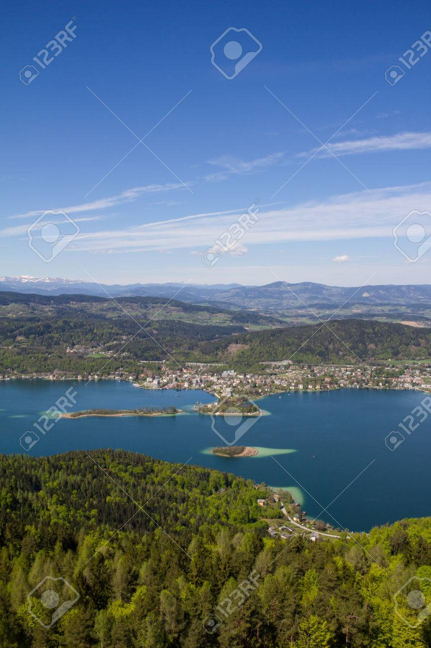 View From Observation Tower Pyramidenkogel To Lake Woerth Stock Photo - 40548530
