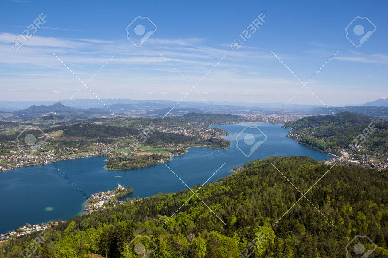 View From Observation Tower Pyramidenkogel To Lake Woerth Stock Photo - 40548670