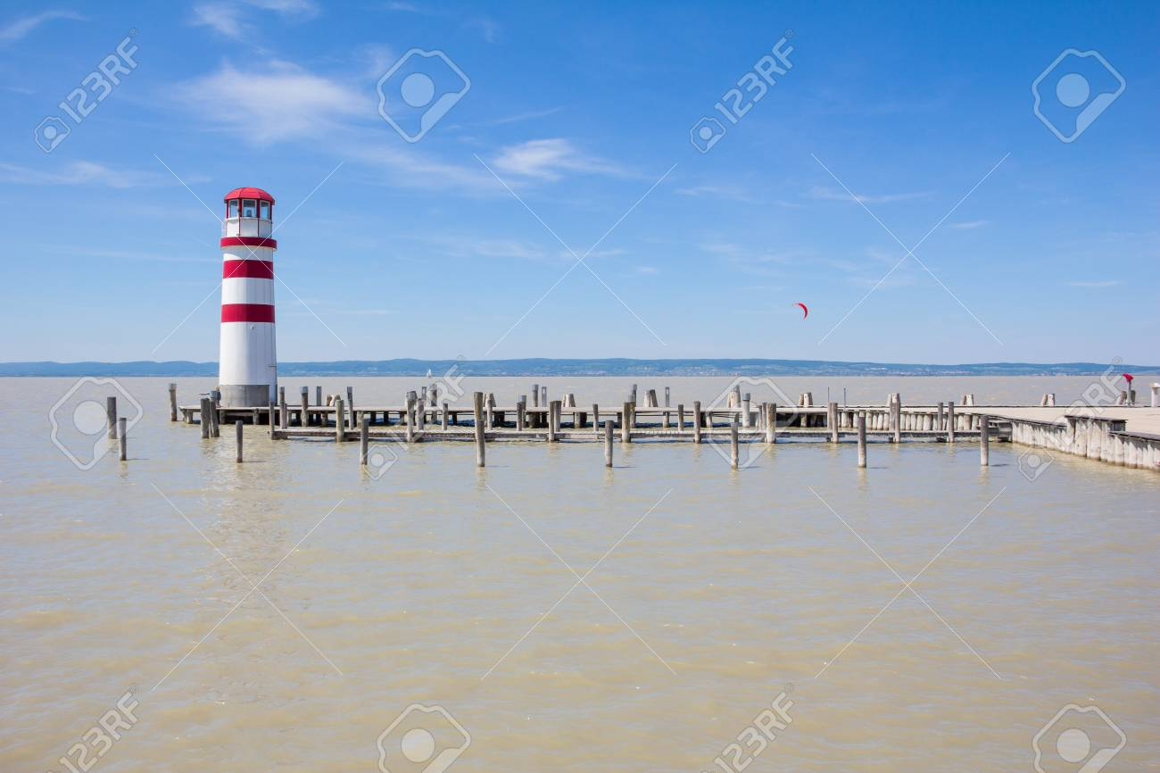 Lighthouse in Podersdorf At Lake Neusiedl in Austria Stock Photo - 40548680
