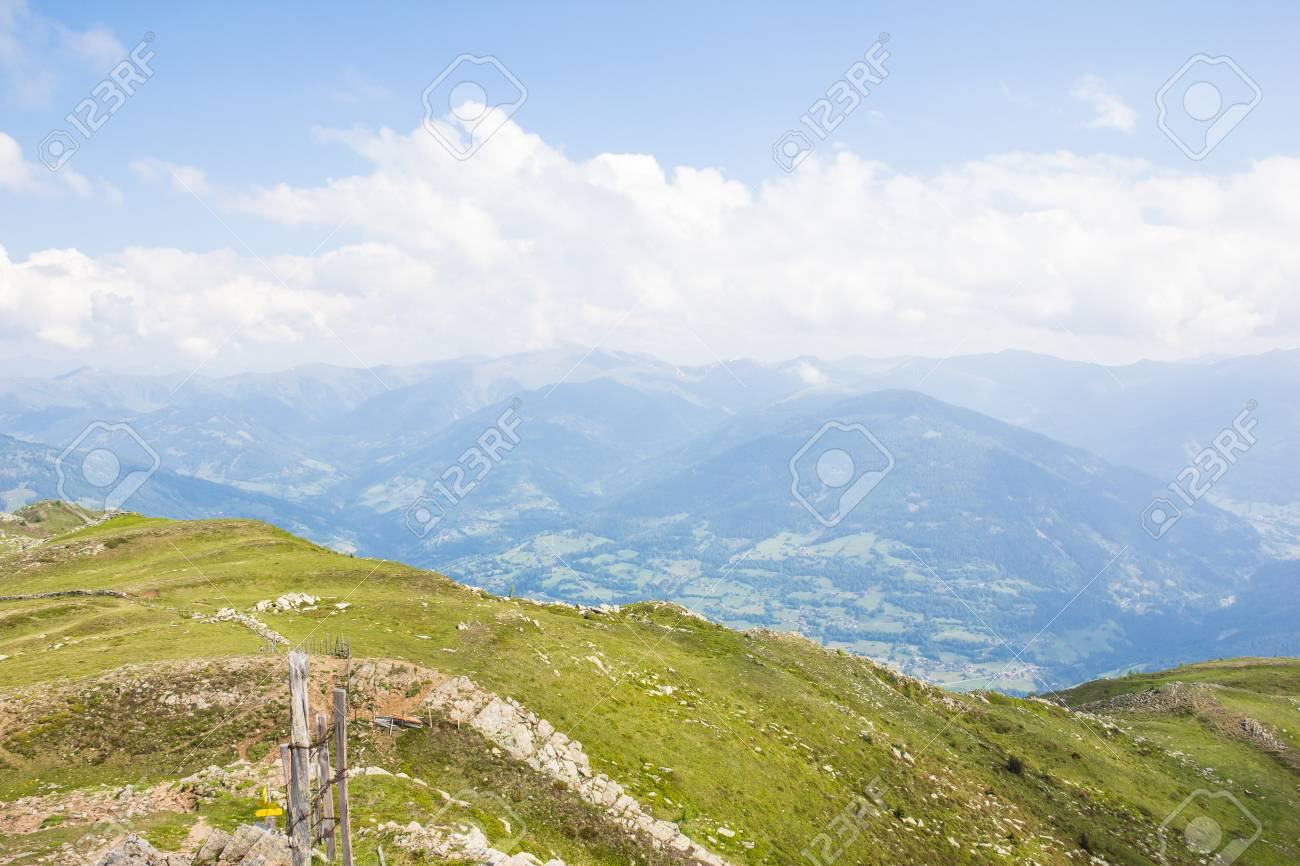 View From Top Of Mt. Mirnock To Mt. Priedr�f & Nocky Mountains Stock Photo - 59721201