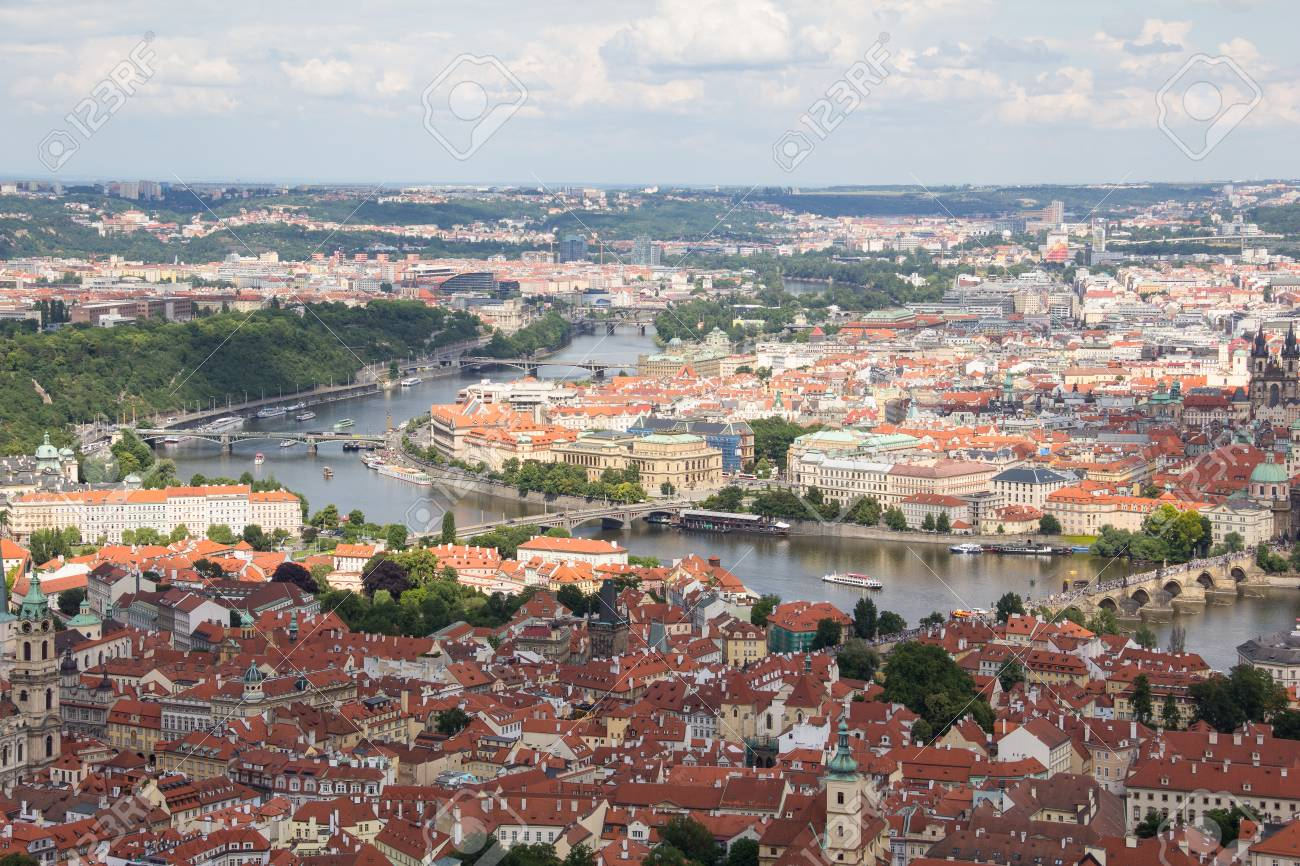 Wonderful View To The City Of Prague From Petrin Observation Tower In Czech Republic Stock Photo - 60811108