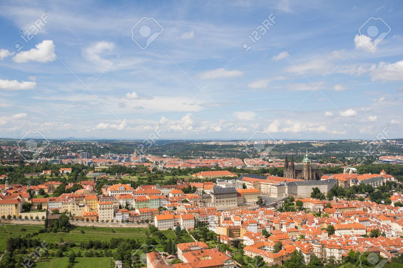 Wonderful View To The City Of Prague From Petrin Observation Tower In Czech Republic Stock Photo - 60811113