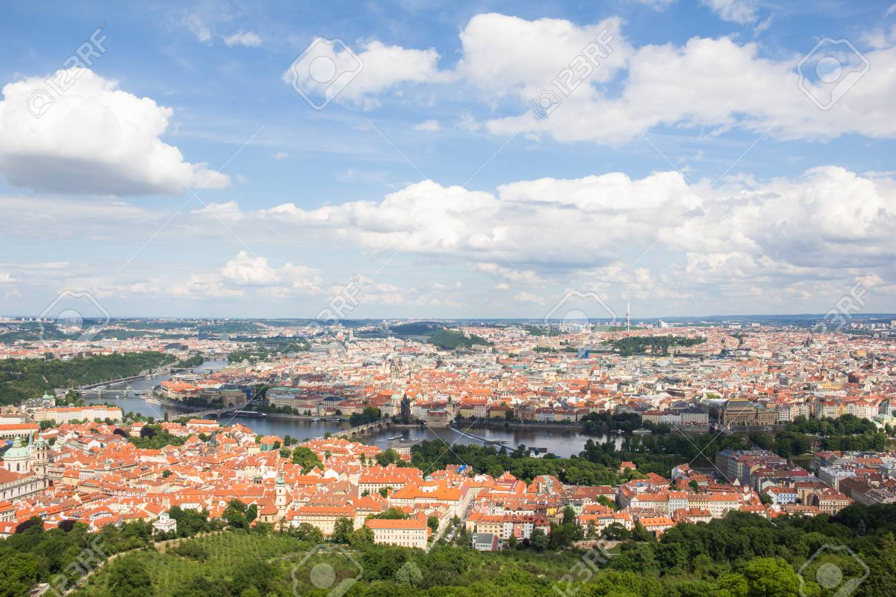 Wonderful View To The City Of Prague From Petrin Observation Tower In Czech Republic Stock Photo - 60811123