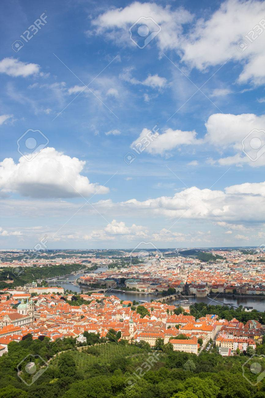 Wonderful View To The City Of Prague From Petrin Observation Tower In Czech Republic Stock Photo - 60811126