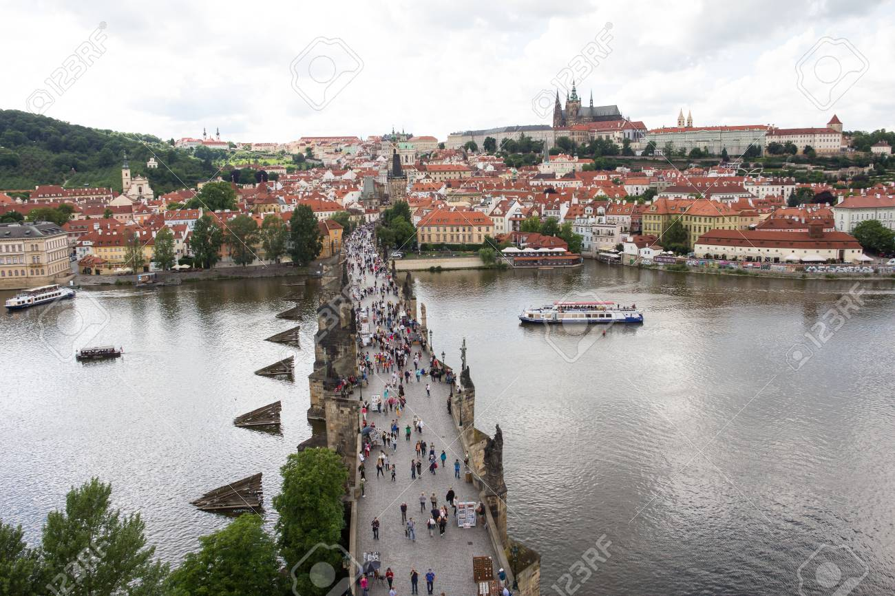 View To Charles Bridge From Top Of Old Bridge Tower In Prague Czech Republic Stock Photo - 60830995