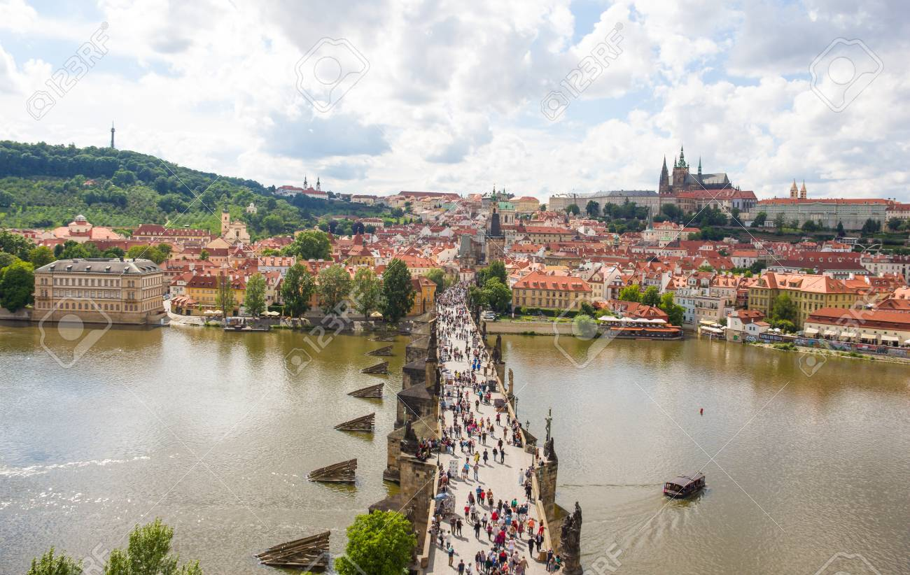 View To Charles Bridge From Top Of Old Bridge Tower In Prague Czech Republic Stock Photo - 60831009