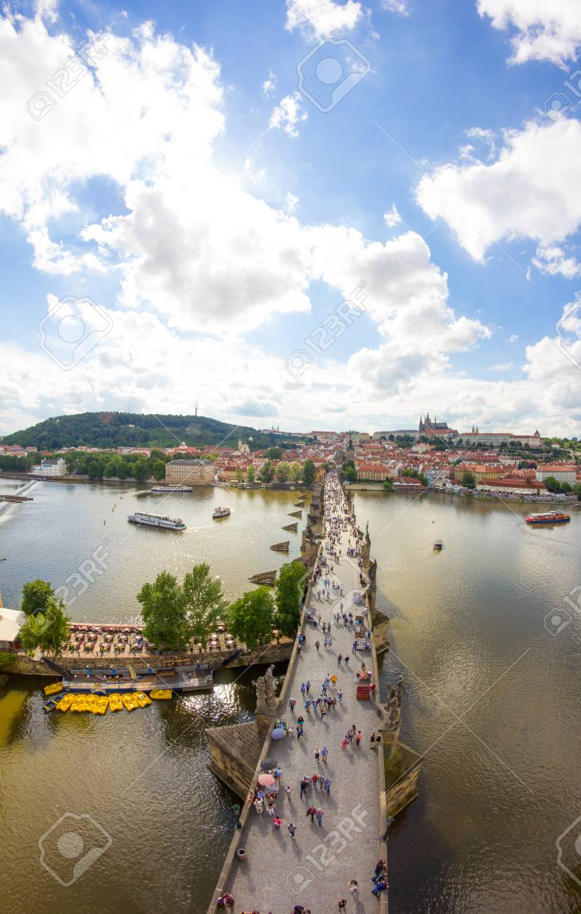 View To Charles Bridge From Top Of Old Bridge Tower In Prague Czech Republic Stock Photo - 60831006