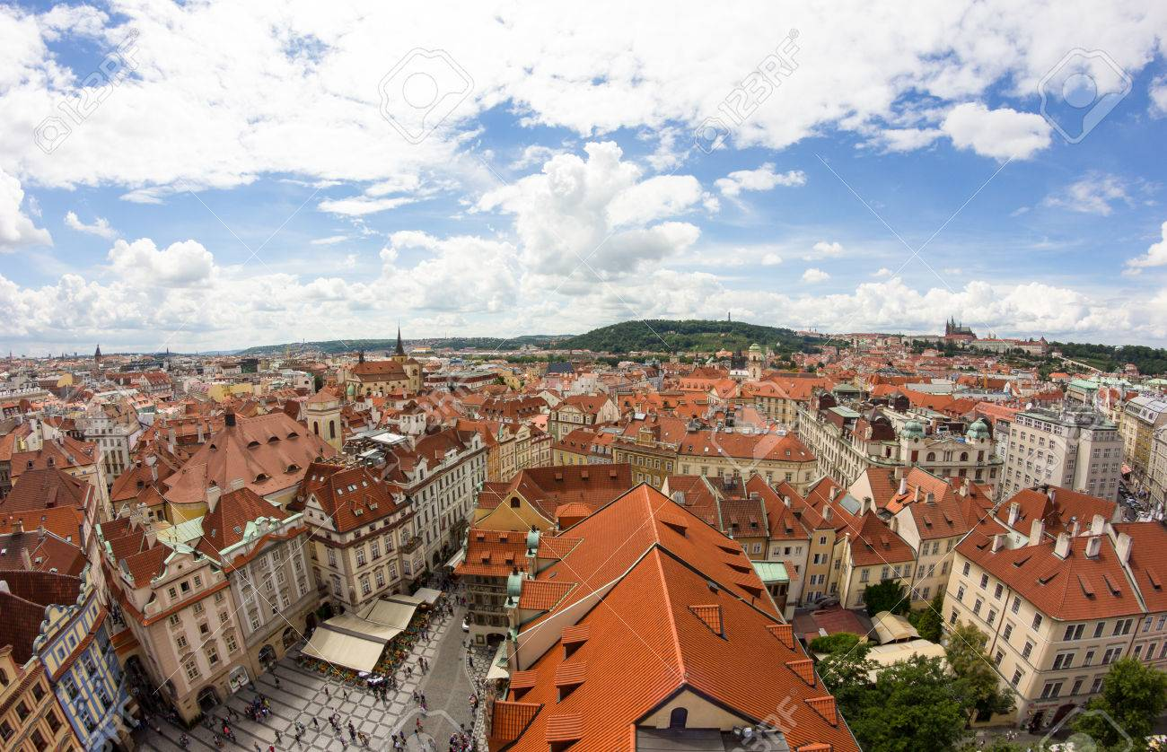 View To The City Of Prague From Old Town Hall Tower In Czech Republic Stock Photo - 60831207
