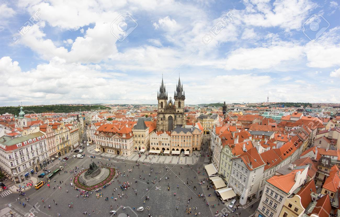 View To The City Of Prague From Old Town Hall Tower In Czech Republic Stock Photo - 60831216