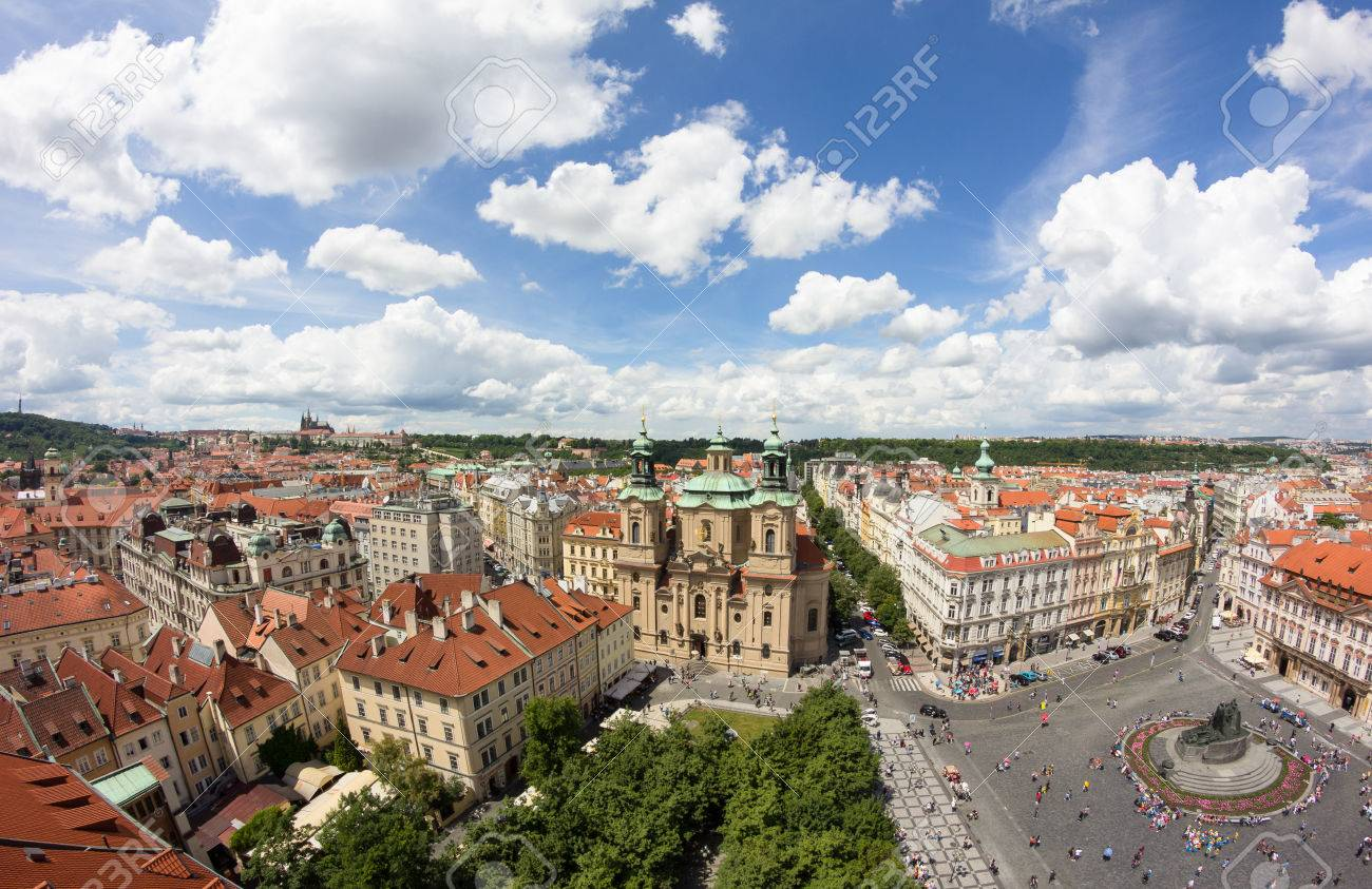 View To The City Of Prague From Old Town Hall Tower In Czech Republic Stock Photo - 60831218