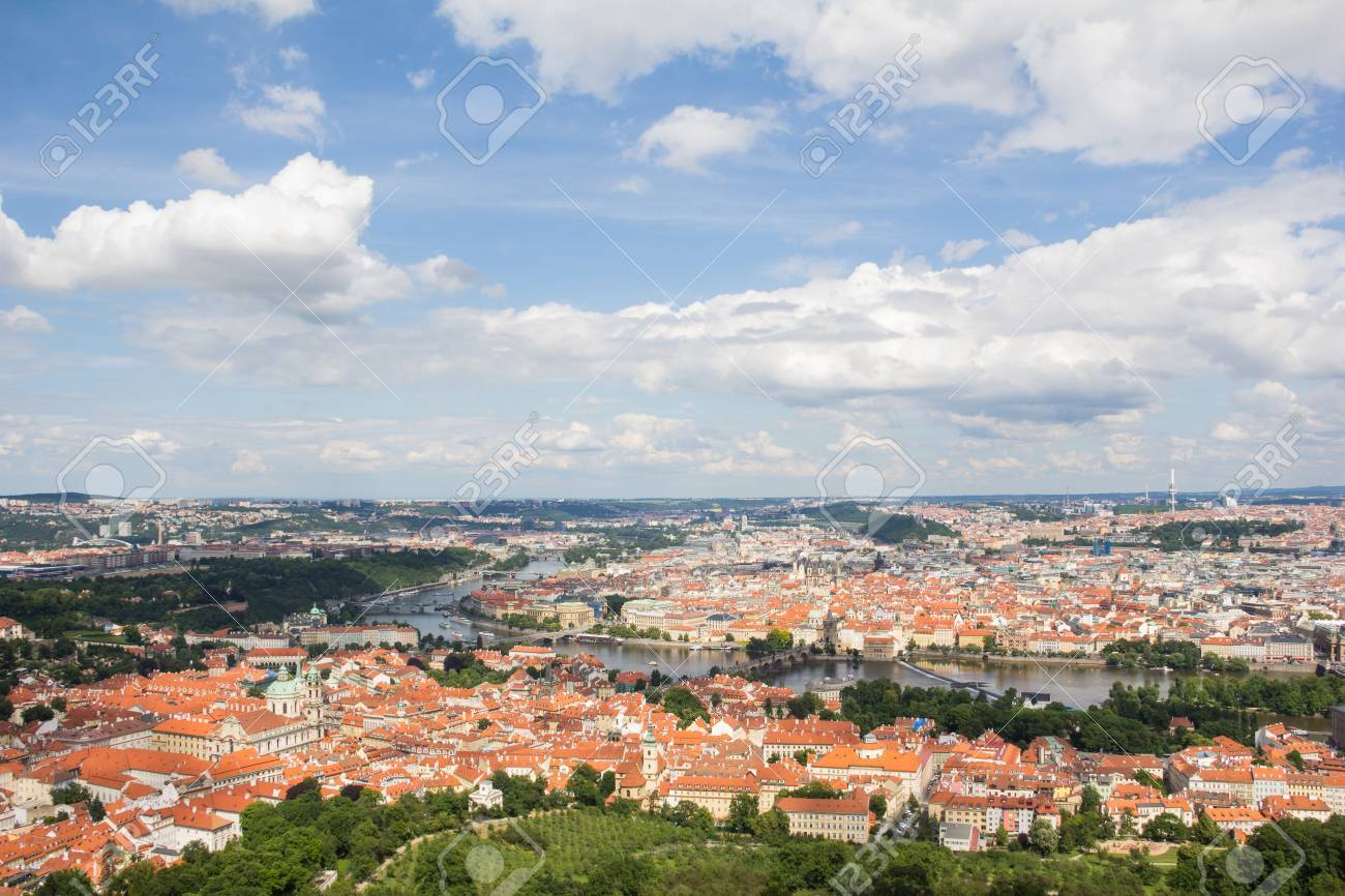 Wonderful View To The City Of Prague From Petrin Observation Tower In Czech Republic Stock Photo - 60811136