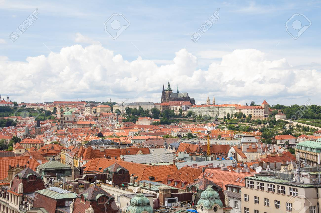 View To The City Of Prague From Old Town Hall Tower In Czech Republic Stock Photo - 60811142