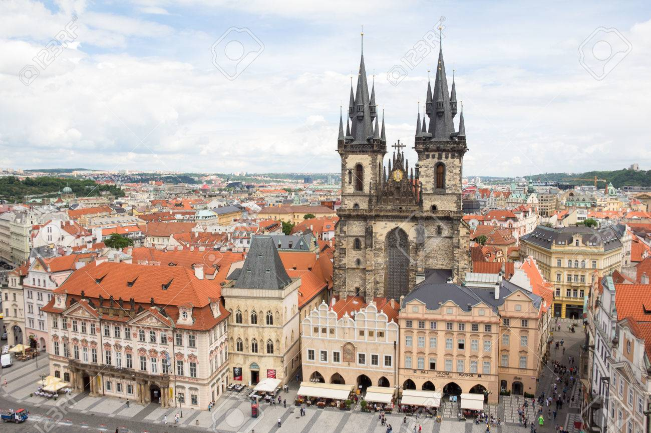 View To The City Of Prague From Old Town Hall Tower In Czech Republic Stock Photo - 60811143