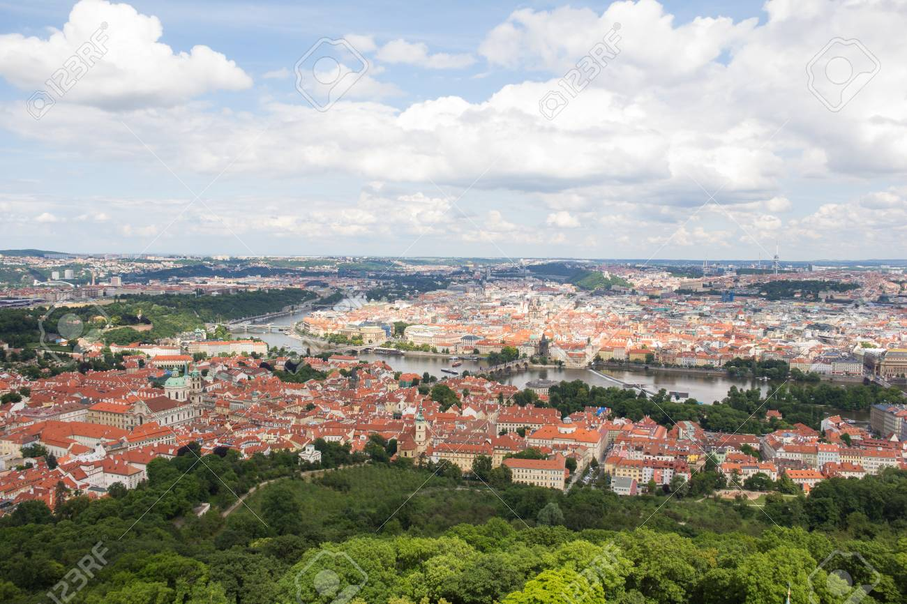Wonderful View To The City Of Prague From Petrin Observation Tower In Czech Republic Stock Photo - 60811161