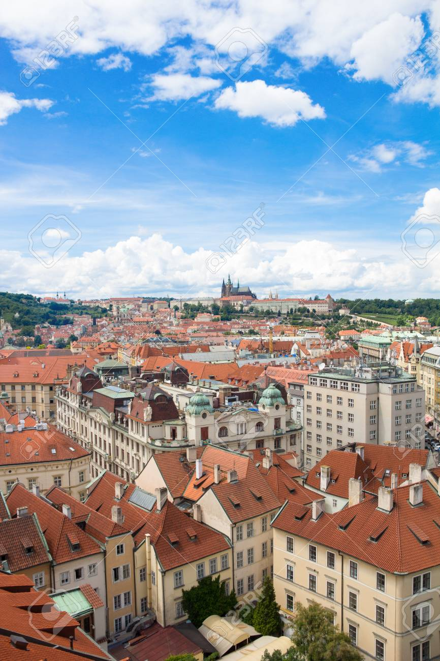 View To The City Of Prague From Old Town Hall Tower In Czech Republic Stock Photo - 60811225