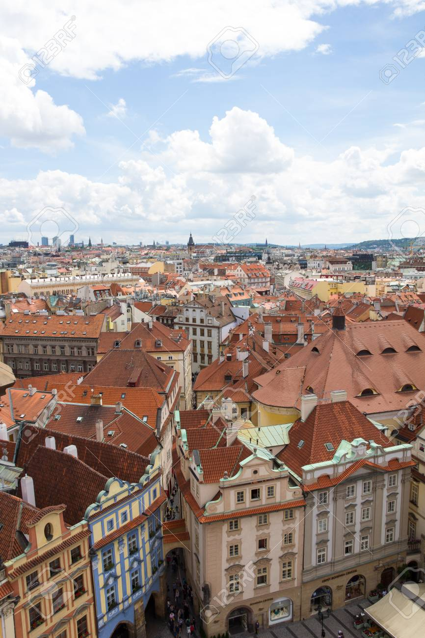 View To The City Of Prague From Old Town Hall Tower In Czech Republic Stock Photo - 60811226
