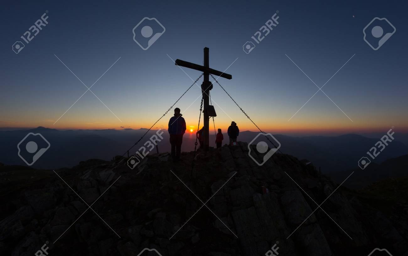 Sunrise On Top Of Mt. Mirnock 2.110m In Carinthia Austria Stock Photo - 61185250