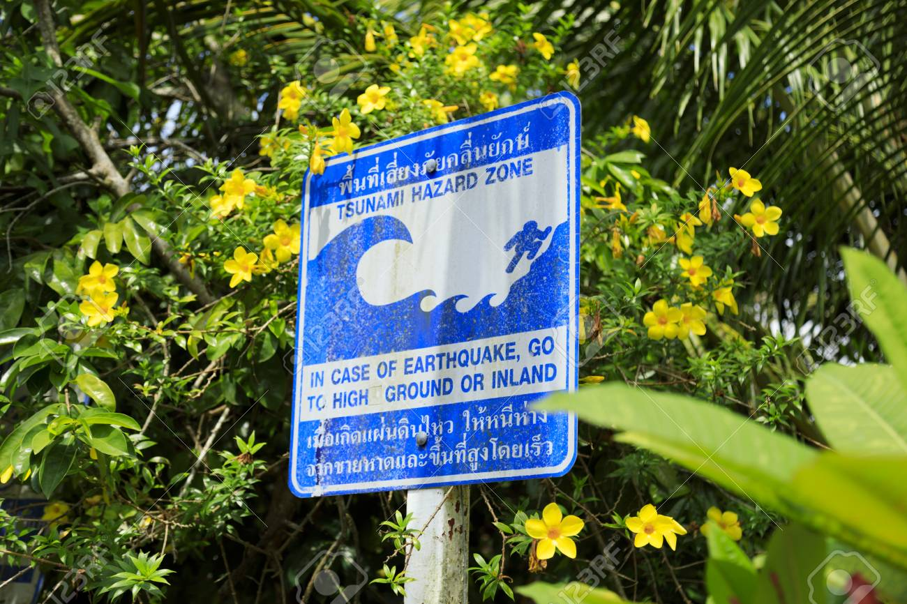 blue sign warning of a tsunami hazard zone taken on a road on