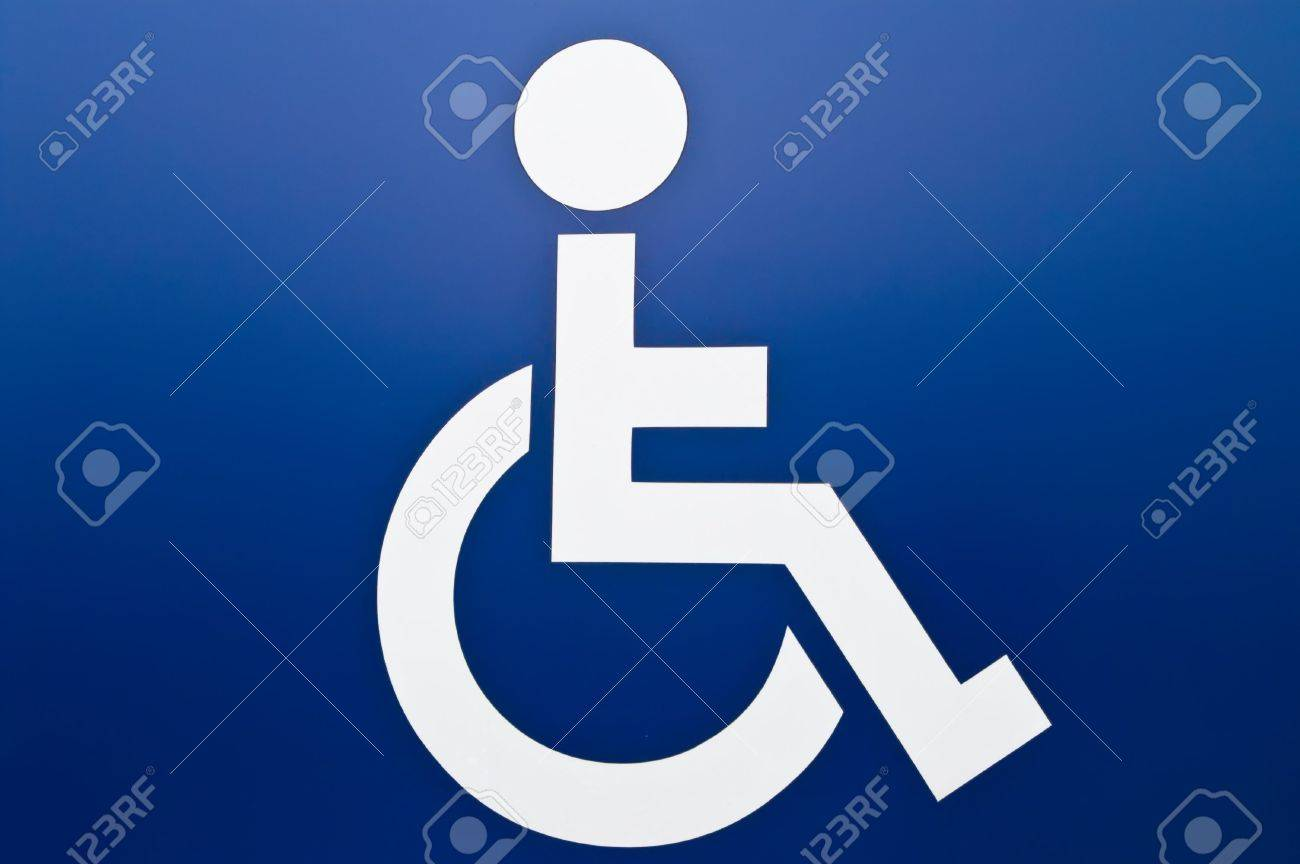 Disablede white sign on blue background Stock Photo - 5995427