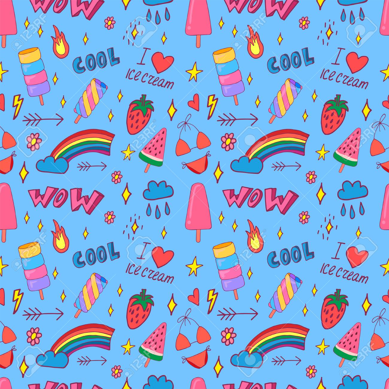 Stylish Pop Art Seamless Pattern With Decoration Element Such