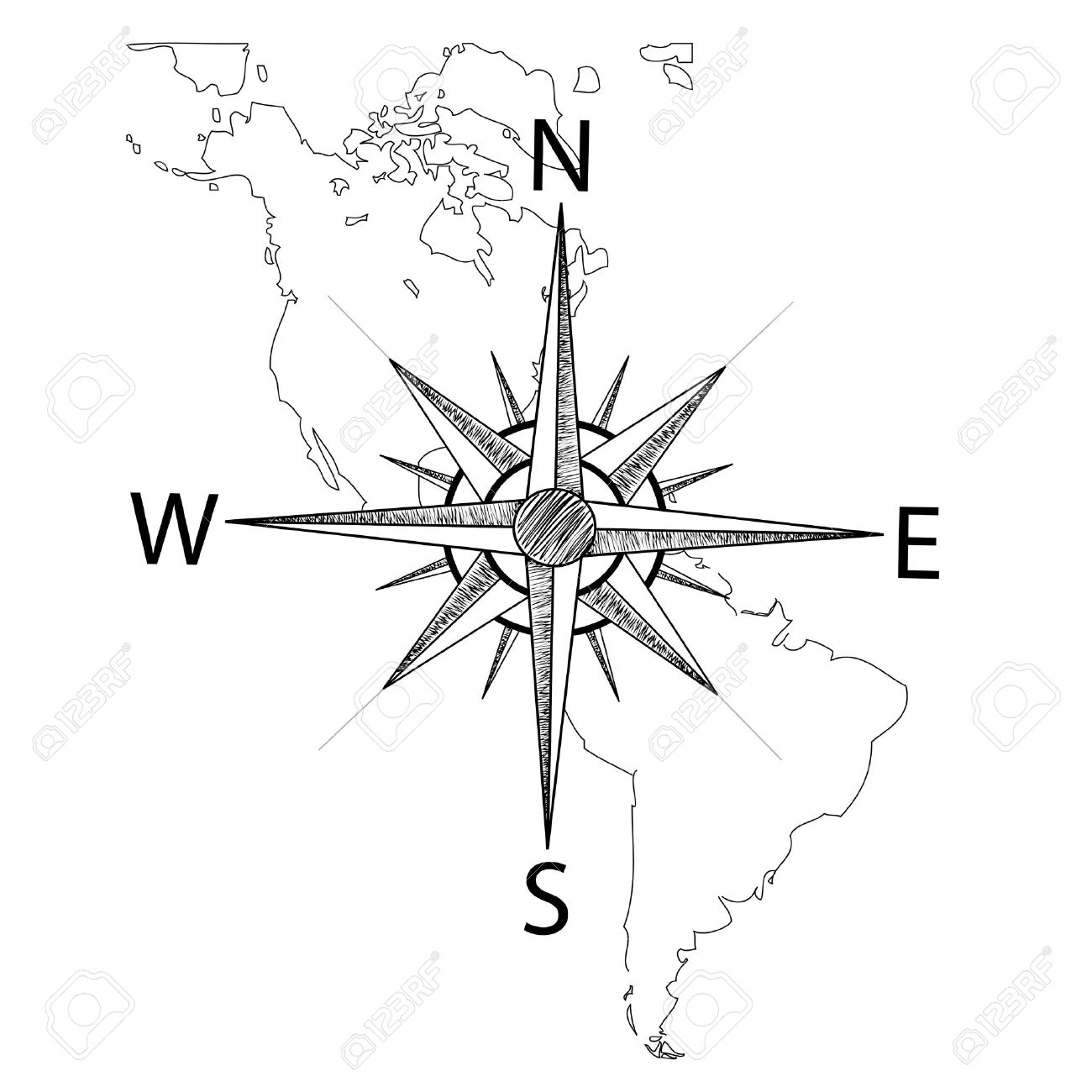 Compass On Map Vector Compass On The Map Of America Royalty Free Cliparts