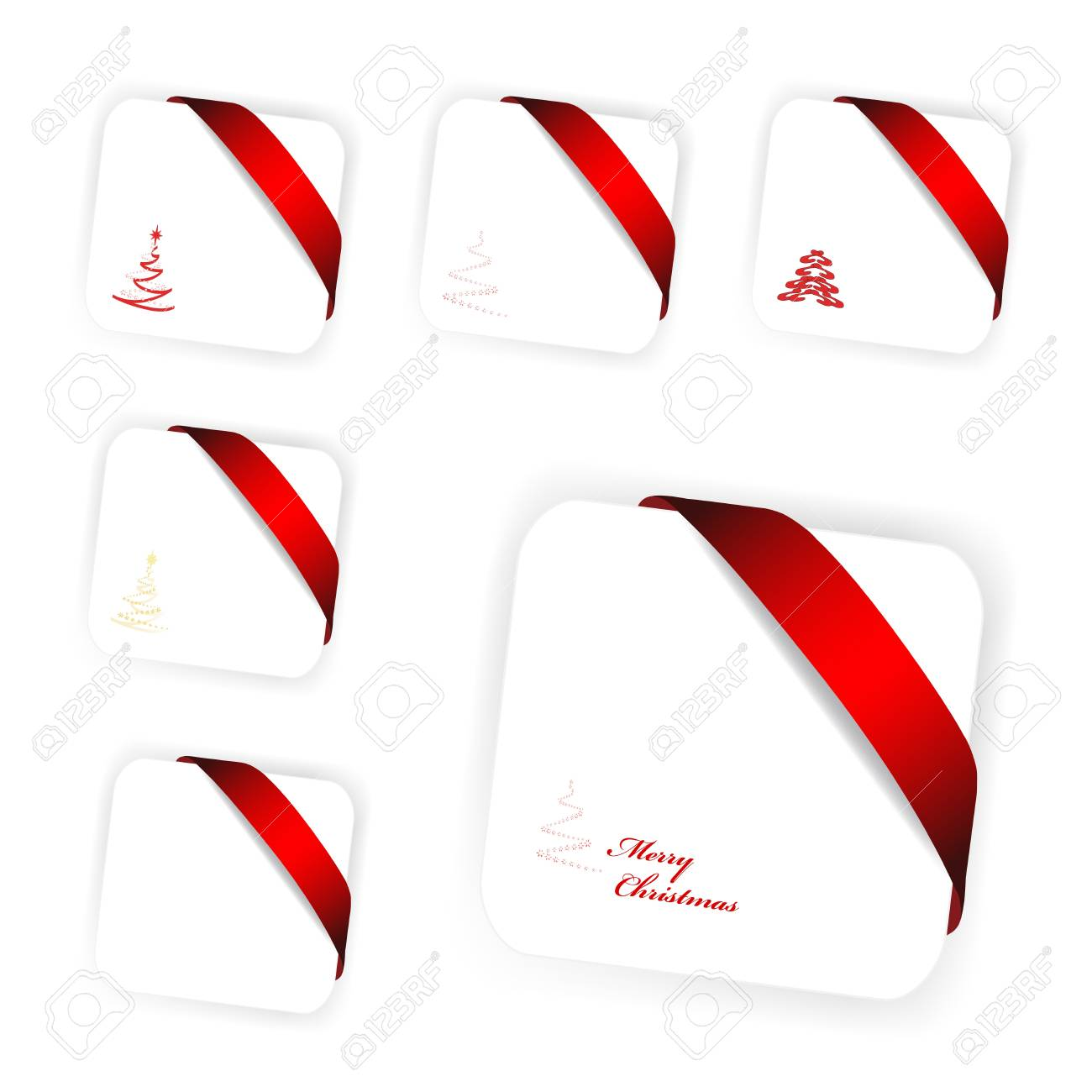 Vector Set Of Christmas Cards Royalty Free Cliparts, Vectors, And ...