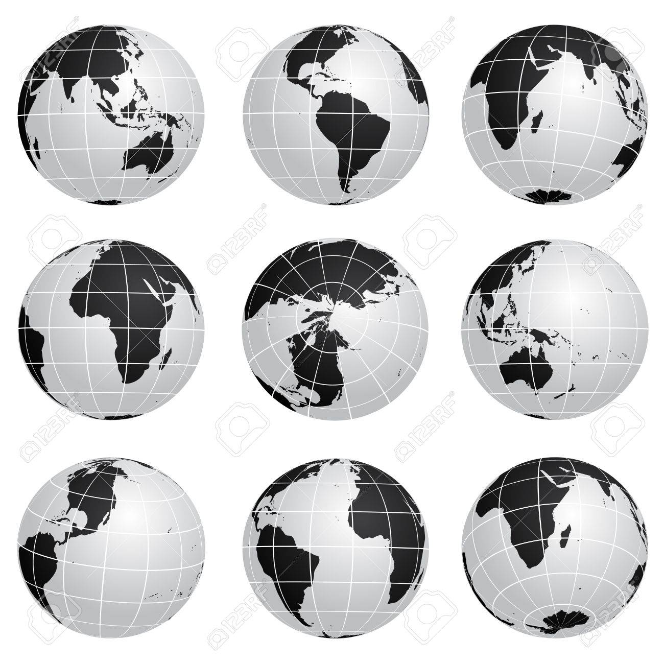Vector globes various turn Stock Vector - 11470092