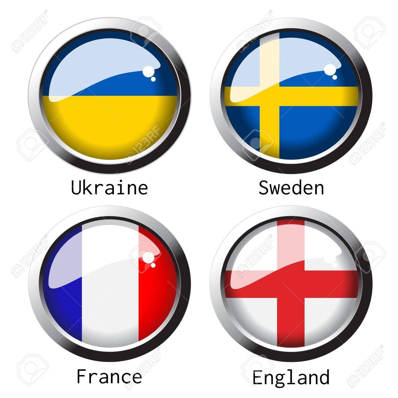 flag on football for Euro 2012 - group D Stock Vector - 13724462