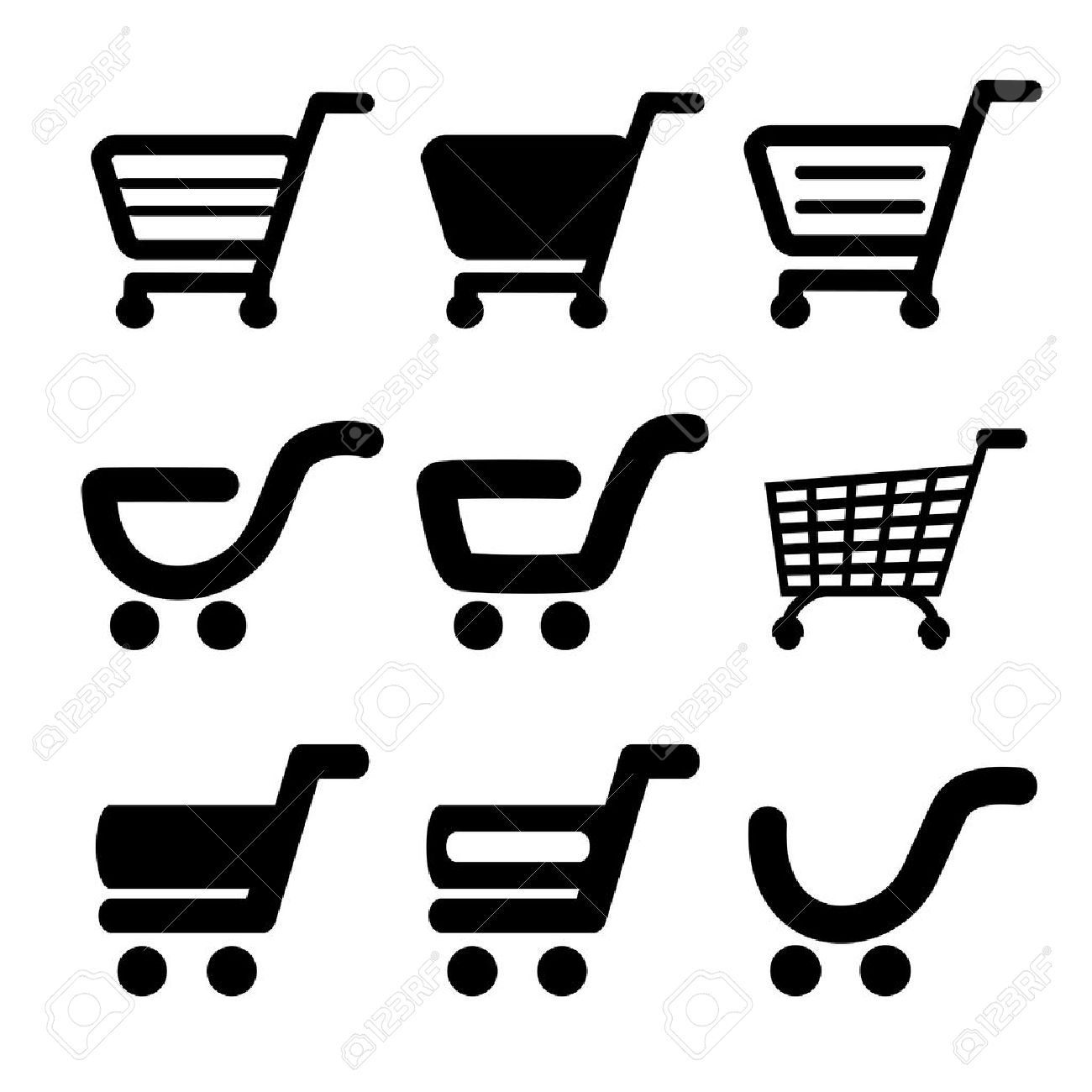 Vector black simple shopping cart, trolley, item, button - illustration - 19506153