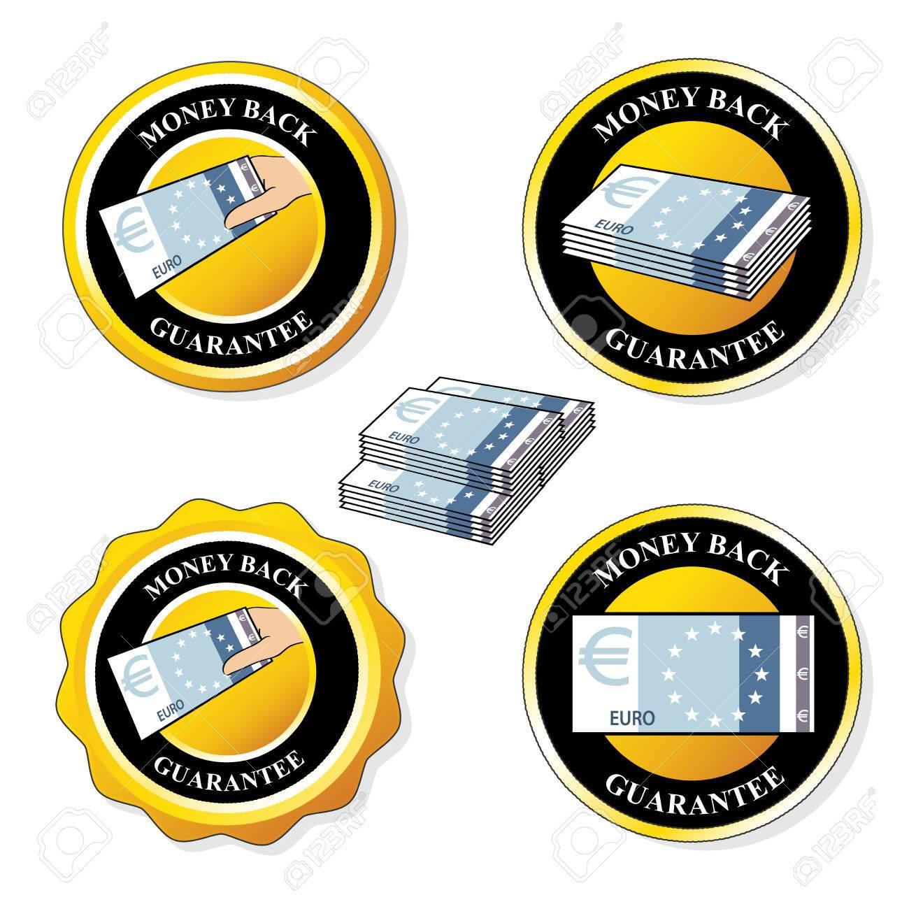 Vector money back guarantee icons, circular stickers with euro - illustration Stock Vector - 22755331
