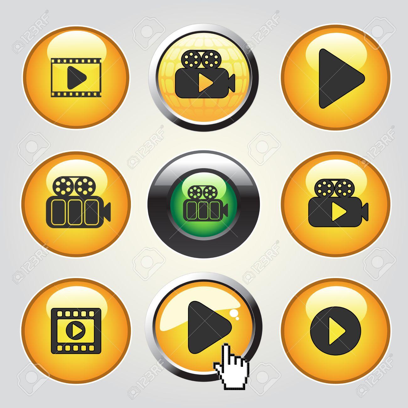 b14b148e68 Foto de archivo - Vector Videos iconos de los medios - botones para reproducir  vídeo, película - ilustración