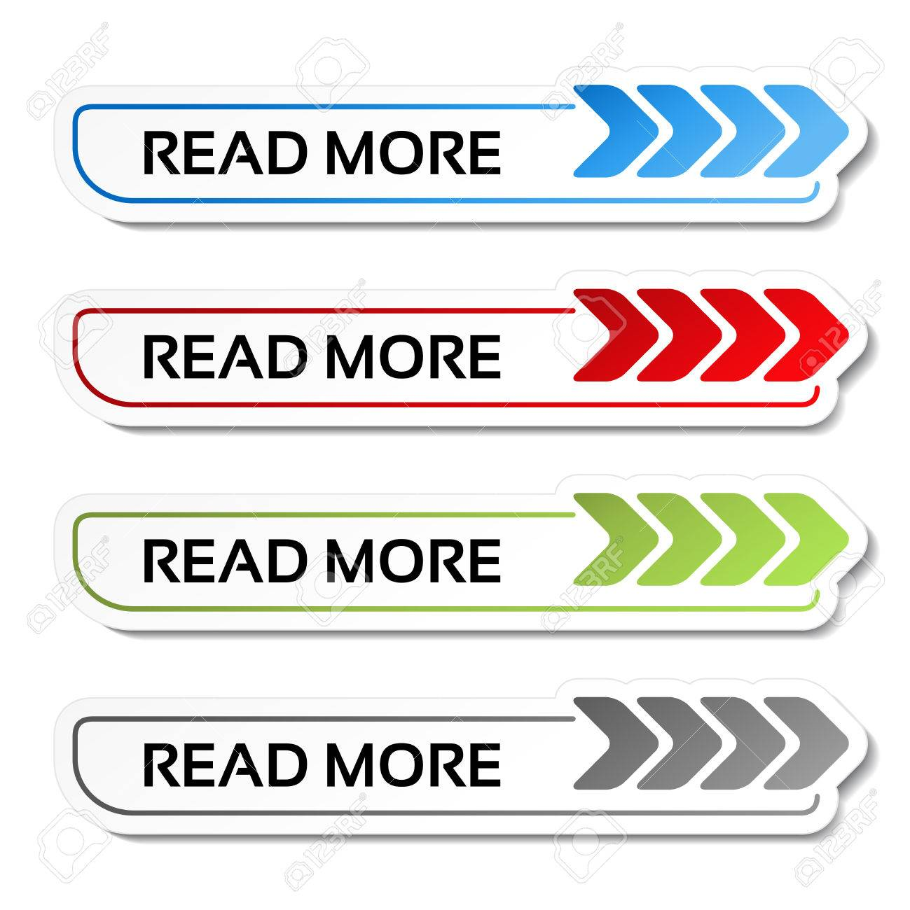 Vector read more buttons with arrows - labels on the white background - illustration - 63498793