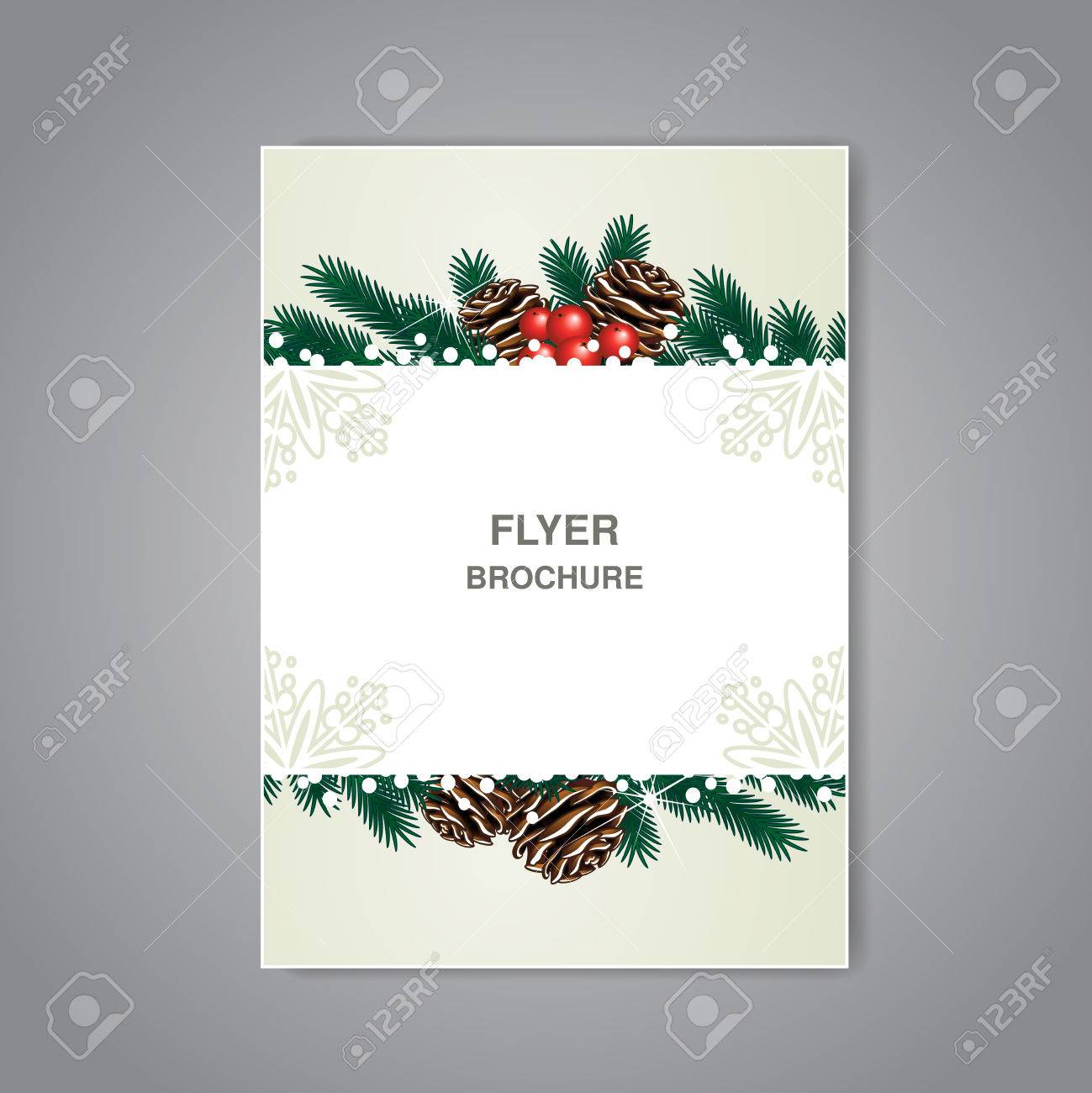 Vector Christmas Brochure With Twigs Cones And Snow Beige Flyer
