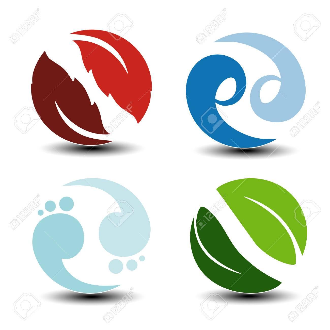 Vector Natural Symbols Fire Air Water Earth Nature Circular