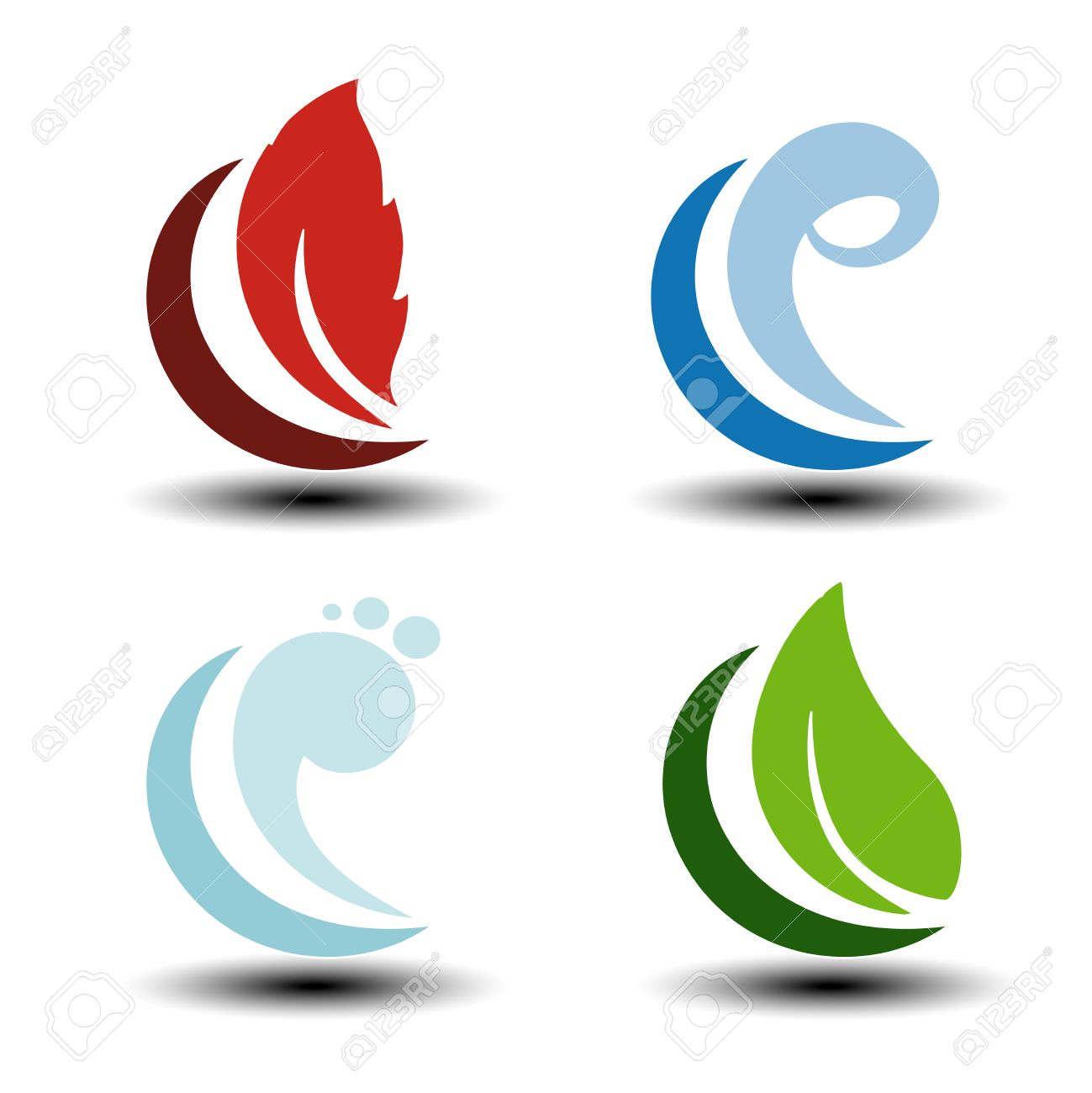 Vector Natural Symbols Fire Air Water Earth Nature Icons With