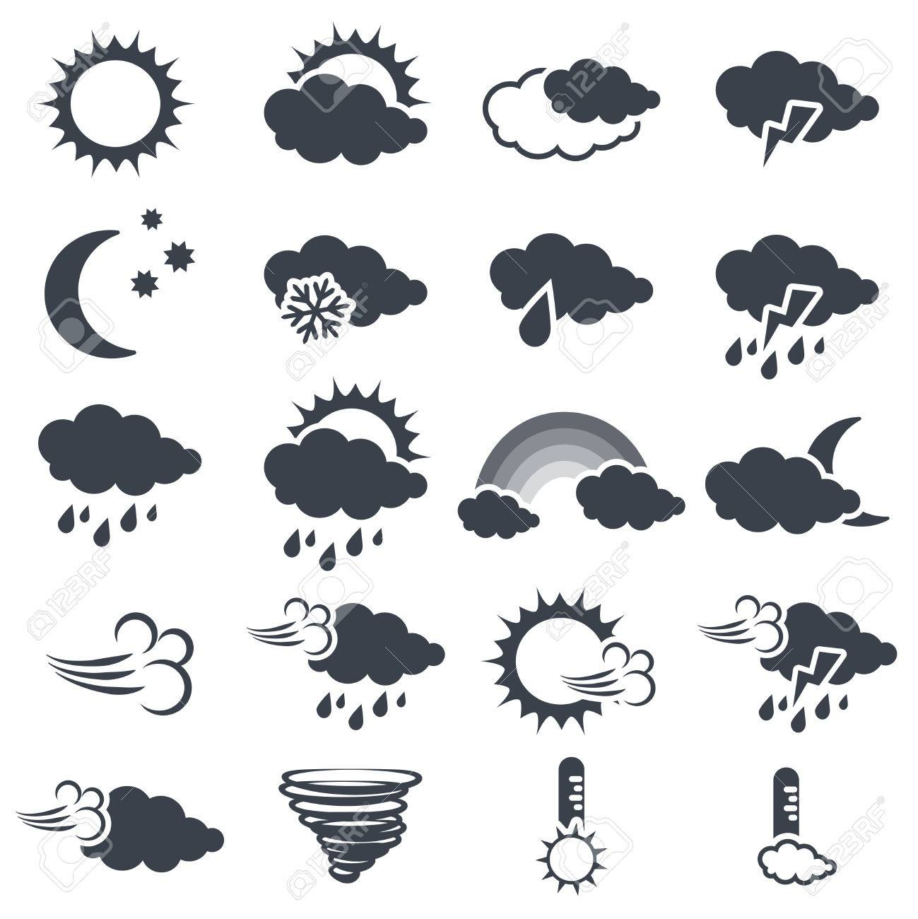 Vector Set Of Various Dark Grey Weather Symbols Elements Of