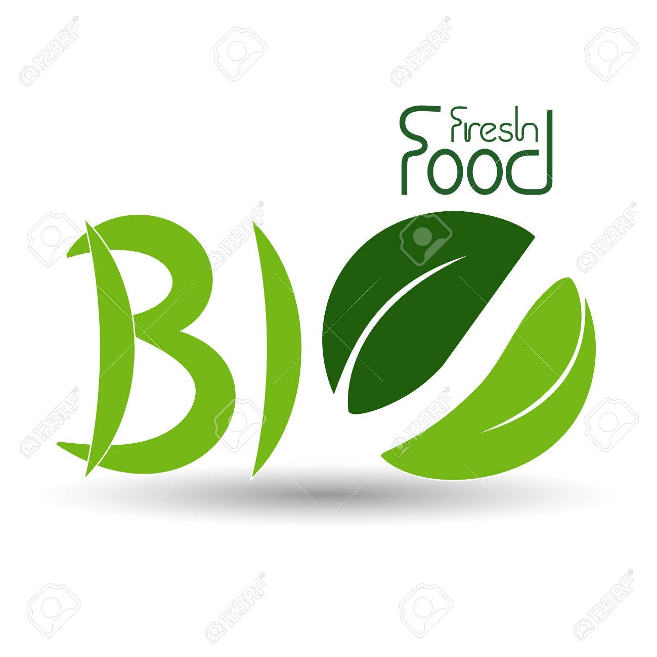 Vector Natural Symbols Nature Bio Fresh Food Icon With Leaf