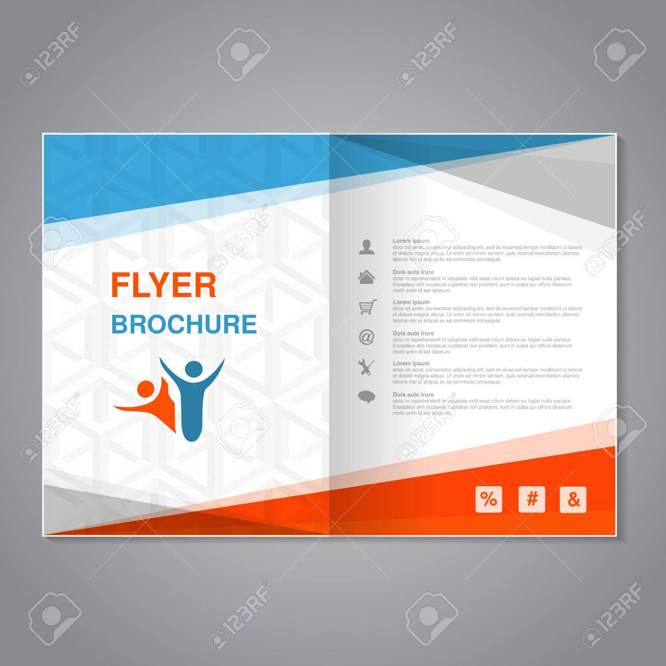 vector vector modern brochure abstract flyer with simple cube design layout template with triangles aspect ratio for a4 size poster of blue orange