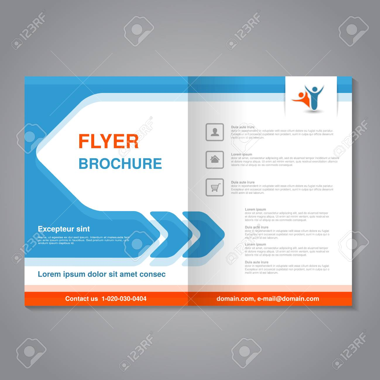 vector vector modern brochure abstract flyer with simple design layout template with arrow aspect ratio for a4 size poster of blue orange