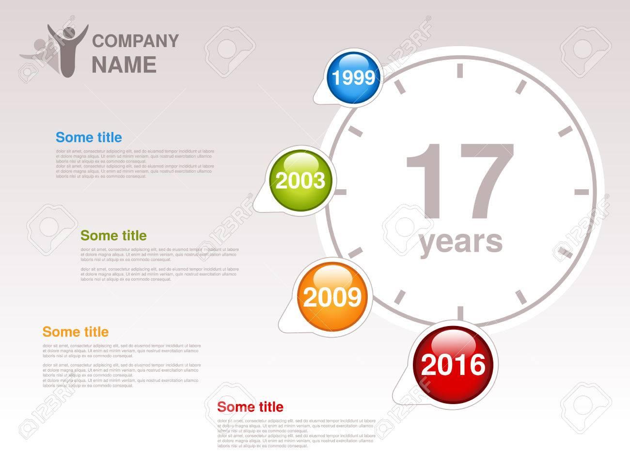 Vector Línea De Tiempo. Plantilla De Infografía Para La Compañía ...